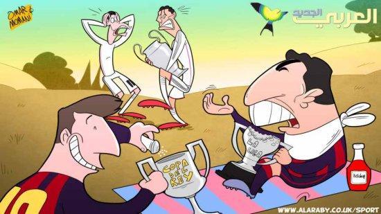 Омар Момани карикатура на тему голодной Барселоны