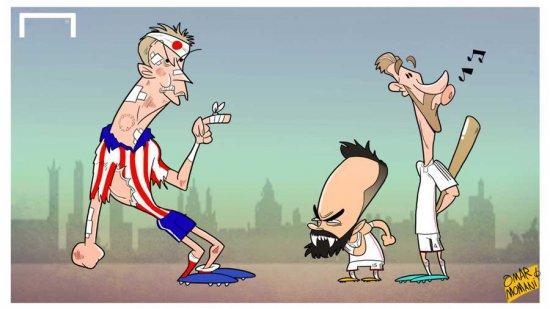 Карикатура от Омара Момани на тему побитого Марио Манджукича