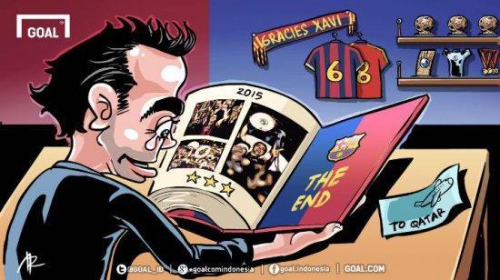 Уход Хави из Барселоны карикатура